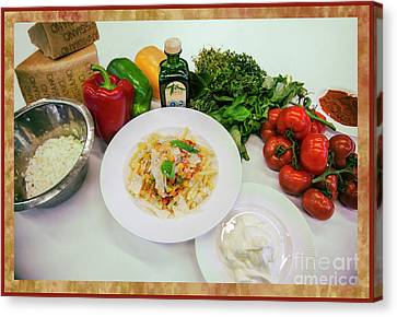 Canvas Print featuring the photograph Pasta Ingredients  by Ariadna De Raadt