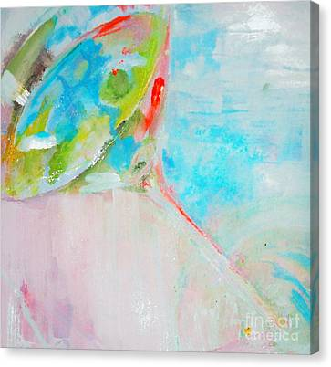 Pastel Blue Martini Painting Canvas Print by Lisa Kaiser