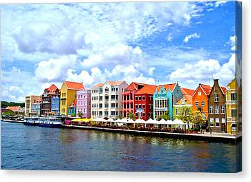 Pastel Building Coastline Of Caribbean Canvas Print