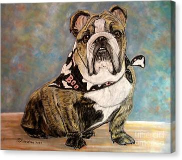 Canvas Print featuring the painting Pastel English Brindle Bull Dog by Patricia L Davidson