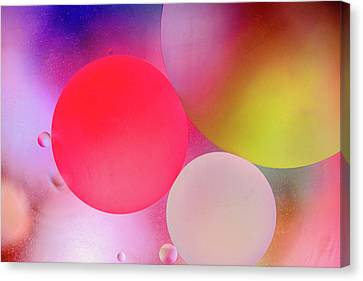 Canvas Print featuring the photograph Pastel Oil Bubble Water Drops by John Williams
