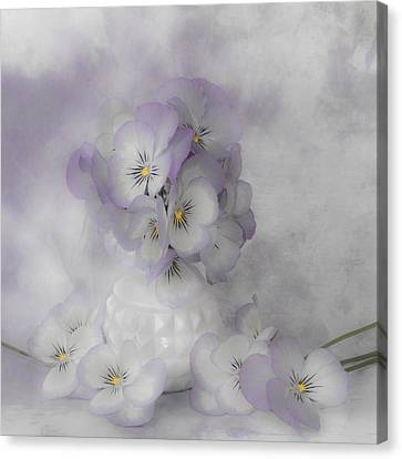 Pastel Pansies Still Life Canvas Print by Sandra Foster