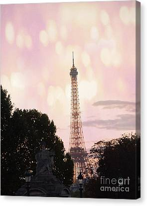 Canvas Print featuring the photograph Pastel Paris Eiffel Tower Sunset Bokeh Lights - Romantic Eiffel Tower Pink Pastel Home Decor by Kathy Fornal