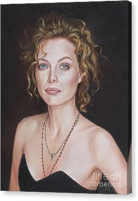 Pastel Portrait Of Amazing Michelle Pfeiffer Canvas Print by Teodor Bozhinov