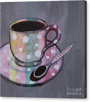 Canvas Print featuring the painting Pastel Stripes Polka Dotted Coffee Cup by Robin Maria Pedrero