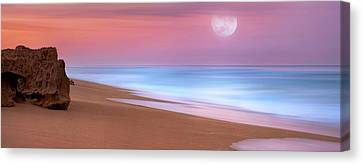 Pastel Sunset And Moonrise Over Hutchinson Island Beach, Florida. Canvas Print by Justin Kelefas