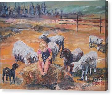Pasture Acquaintances Canvas Print by Alicia Drakiotes