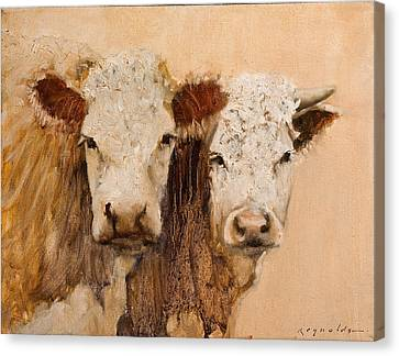 Canvas Print featuring the painting Pasture Buddies by John Reynolds