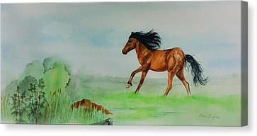 Canvas Print featuring the painting Pasture by Ellen Canfield