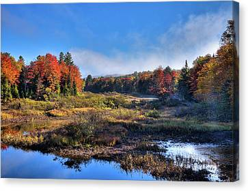 Canvas Print featuring the photograph Patches Of Fog At The Green Bridge by David Patterson