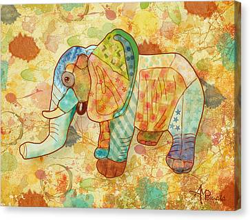 Patchwork Elephant Canvas Print by Angeles M Pomata