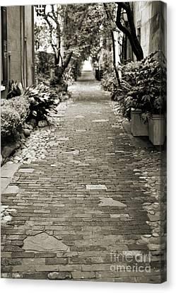 Patchwork Pathway In Sepia Aka Philadelphia Alley Canvas Print