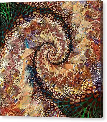 Canvas Print featuring the digital art Patchwork Spiral by Richard Ortolano