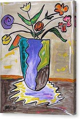 Canvas Print featuring the painting Patchwork Vase by Mary Carol Williams