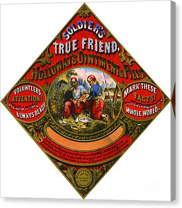 Canvas Print featuring the photograph Patent Medicine Label 1862 by Padre Art