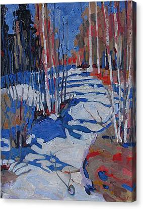Path Behind Mowat Lodge Canvas Print by Phil Chadwick