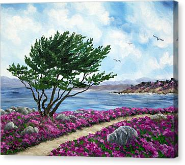 Path By A Cypress Tree In May Canvas Print by Laura Iverson