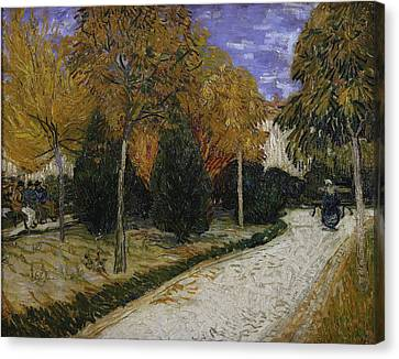 Benches Canvas Print - Path In The Park At Arles by Vincent Van Gogh