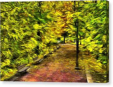 Lamp Post Canvas Print - Path Through Fall by Mark Kiver