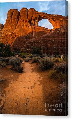 Canvas Print featuring the photograph Path To Skyline Arch At Sunset - Utah  by Gary Whitton