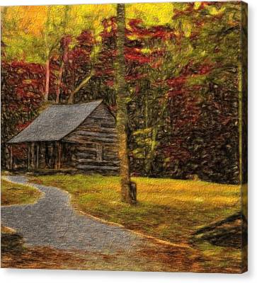 Path To The Fall Cabin Canvas Print by Dan Sproul