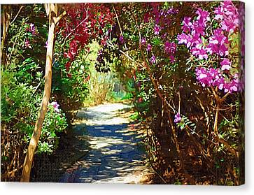 Canvas Print featuring the digital art Path To The Gardens by Donna Bentley