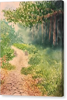 Path With Guardians Canvas Print by Elizabeth Gomez