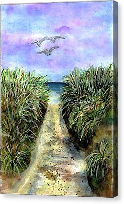 Pathway To The Shore Canvas Print by Dina Sierra