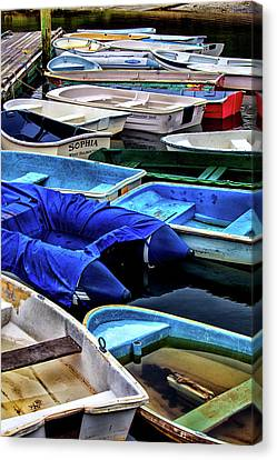 Patiently Waiting Dinghies Canvas Print by Karol Livote