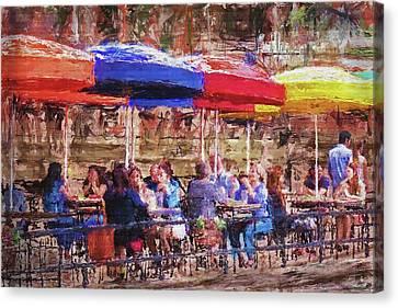 Patio At The Riverwalk Canvas Print
