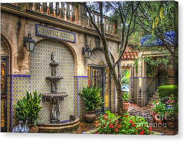 Patio Azul - Tlaquepaque Shopping Village - Sedona  Arizona Canvas Print by Jon Berghoff