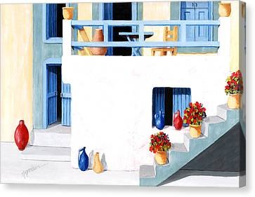 Santorini Patio By The Sea - Prints Of Original Oil Painting Canvas Print by Mary Grden's Baywood Gallery