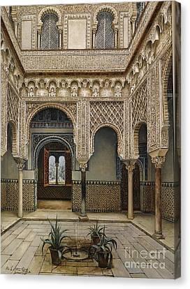 Patio Del Alcazar De Sevilla Canvas Print by Celestial Images