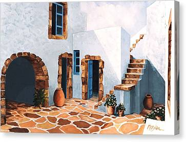 Patio In Patmos, Greece-prints From Original Oil Painting Canvas Print