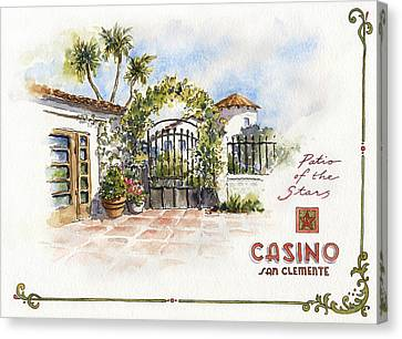 Patio Of The Stars At The Casino Canvas Print by Leslie Fehling
