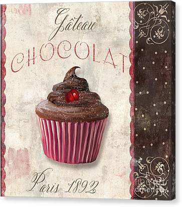 Capuccino Canvas Print - Patisserie Chocolate Cupcake by Mindy Sommers