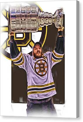 Patrice Bergeron Boston Bruins Oil Art 3 Canvas Print by Joe Hamilton