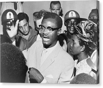 Patrice Lumumba 1925-1961 Speaking Canvas Print by Everett