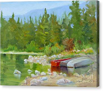Patricia Lake, Jasper Canvas Print by Mohamed Hirji