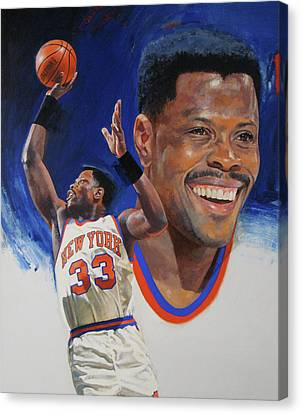 Canvas Print featuring the painting Patrick Ewing by Cliff Spohn
