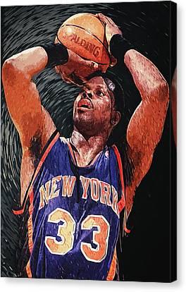 All-star Game Canvas Print - Patrick Ewing by Taylan Apukovska