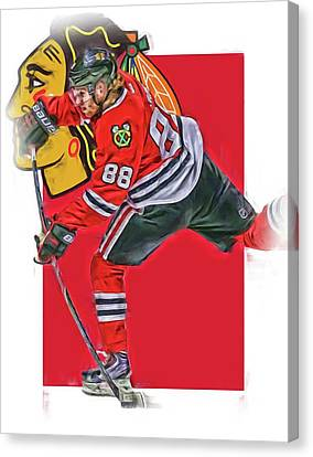 Patrick Kane Chicago Blackhawks Oil Art Series 1 Canvas Print by Joe Hamilton