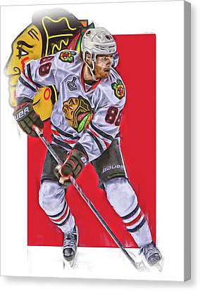 Patrick Kane Chicago Blackhawks Oil Art Series 2 Canvas Print by Joe Hamilton
