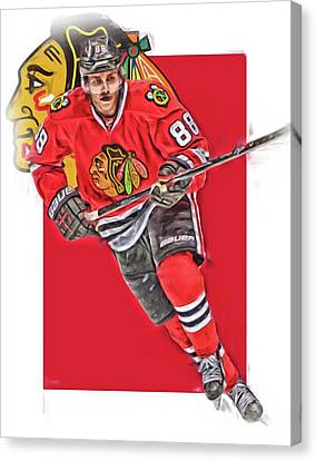 Patrick Kane Chicago Blackhawks Oil Art Series 3 Canvas Print by Joe Hamilton