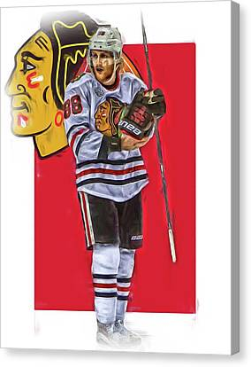 Patrick Kane Chicago Blackhawks Oil Art Series 4 Canvas Print by Joe Hamilton