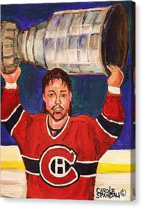 Patrick Roy Wins The Stanley Cup Canvas Print by Carole Spandau