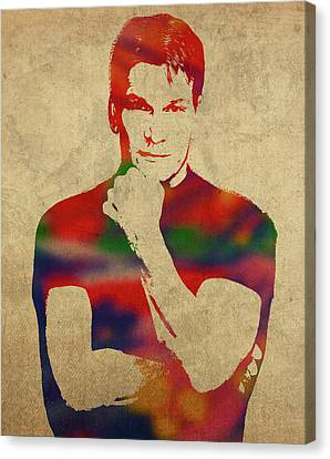 Dancing Canvas Print - Patrick Swayze Watercolor Portrait by Design Turnpike