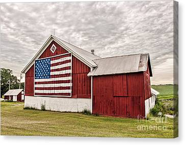 Patriotic Barn Canvas Print by Trey Foerster