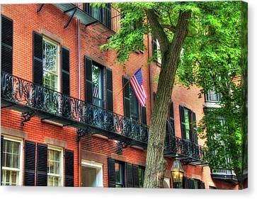 Patriotic Beacon Hill Brownstones - Boston Canvas Print