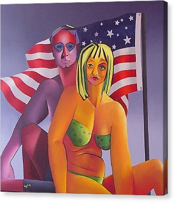 Canvas Print featuring the painting Patriotic Couple by Karin Eisermann